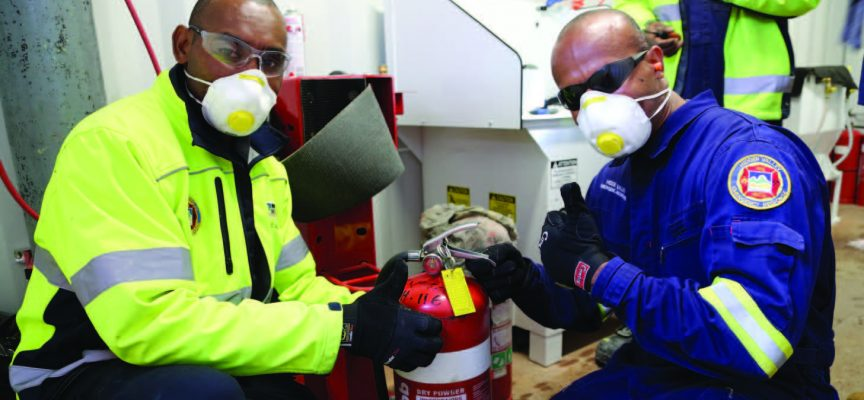 Trained to refill fire extinguishers